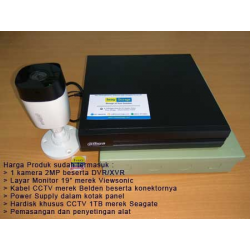 Low Cost: 3 Kamera CCTV 2MP Dahua, HDD 1TB, Kabel 30m