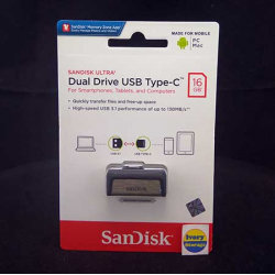 Dual USB Flash Drive 3.0  Type-C 16GB Sandisk - 619659142032